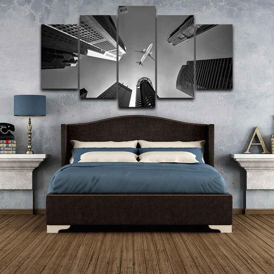 Холст стены книги по искусству фотографии Гостиная рамки 5 шт. реактивный самолет