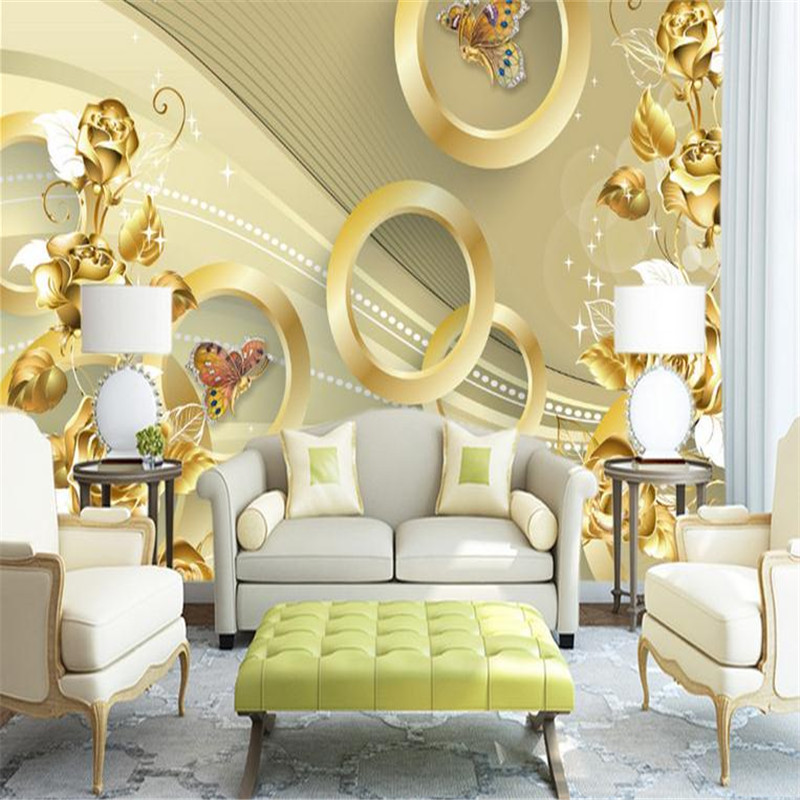 modern custom 3d photo wallpaper large living room bedroom TV background wall mural  gold circle luxurious gorgeous wallpaper custom 3d modern home decor wallpaper living room bedroom tv background wall mural large european simulation art tiles wallpaper