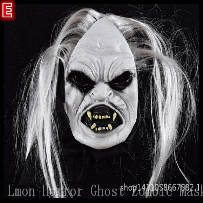 Halloween Party Косплэй Супер Страшные маски полноценный белый волосы и голубые глаза и длинные волосы белый вампир маска кровавый зомби игрушка