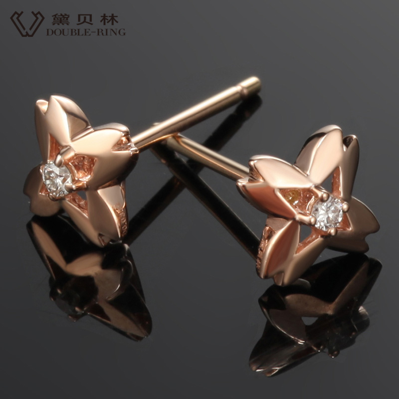 DOUBLE-R 0.04ct Genuine Diamond Ouro 18k Rose Gold Earrings Pure Solid 18k Real Gold Stud Earrings For Girls CAE00596C 18k rose gold plated rhinestone awesome swan stud earrings golden pair