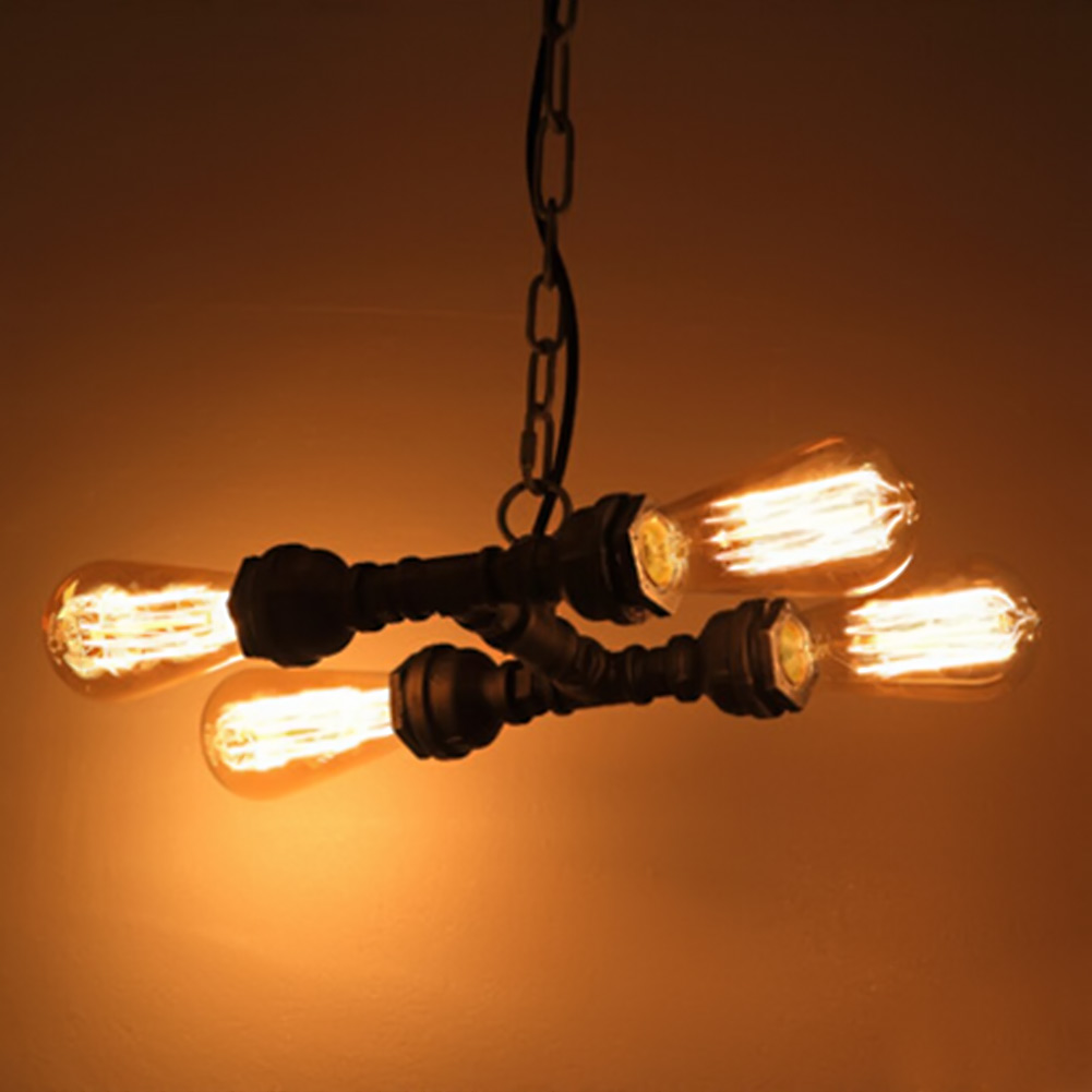 Vintage Loft Rust Color Water Pipe Pendant Light Edison Bulb Decorative Lamp Bar Counter Fixture Lighting E27 Lamp Holder loft antique retro spider chandelier art black diy e27 vintage adjustable edison bulb pendant lamp haning fixture lighting