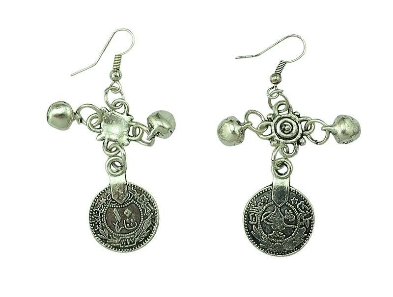 Venta caliente de la vendimia de plata turco moneda pendientes ...