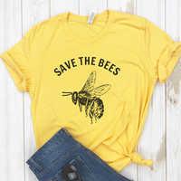 Speichern sie Die Bienen Hemd Crewneck T Hemd Frauen Speichern Sie Die Erde Umwelt Bee Art Graphic Tees Frauen Vegan T-shirt 3XL drop Schiff