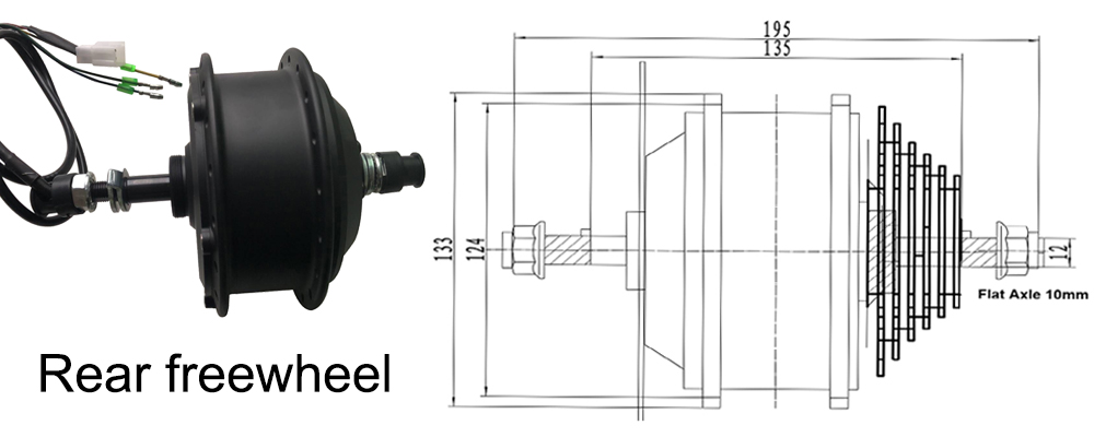 36V hub Rear freewheel