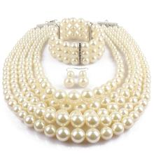layered simulated pearl bridal jewelry sets bracelet necklace and earrings set ensemble bijoux collier wedding jewelry недорого