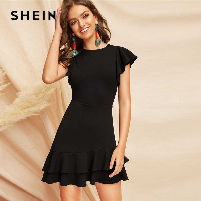 SHEIN Elegant Black V-Back Layered Ruffle Hem Flutter Sleeve Summer Party Dress Women Solid Fit and Flare A Line Classy Dresses