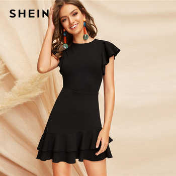 SHEIN Elegant Black V-Back Layered Ruffle Hem Flutter Sleeve Summer Party Dress Women Solid Fit and Flare A Line Classy Dresses - DISCOUNT ITEM  45% OFF All Category