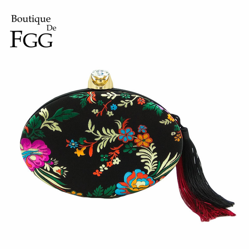 Boutique De FGG Chinese Style Embroidery Flower Women Black Satin Evening Bag Tassel Clutch Purse Wedding Party Shoulder Handbag