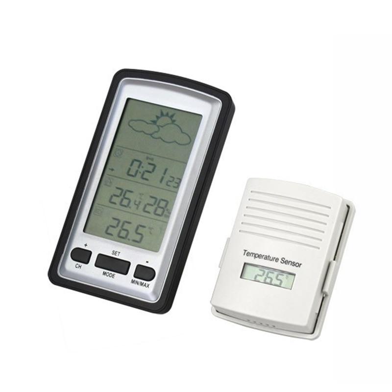 купить 433MHz RF Wireless Weather Station In Outdoor Digital LED Thermometer Hygrometer Barometer Alarm Clock With Temperature Sensor онлайн
