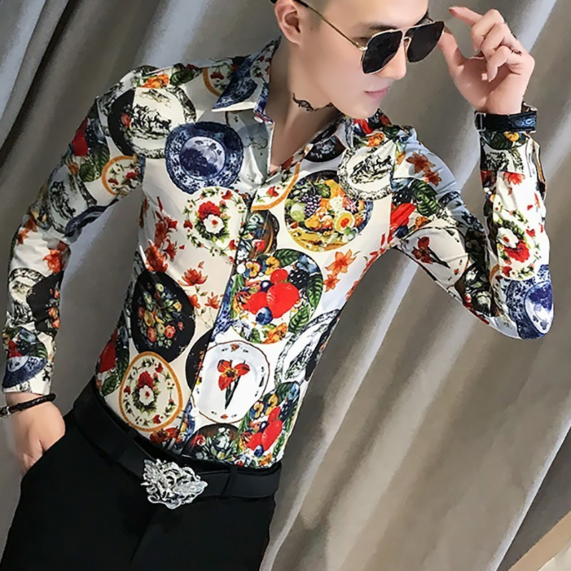 National Customs Long Sleeve Flower Shirt Male Self-cultivation Personality Micro Bomb Hairstyle Division Mens Casual Shirts