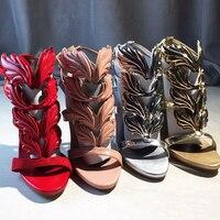 Новая летняя модная обувь, украшенная стразами Leaf сандалии смешанных цветов Высокий каблук Женская обувь с открытым носком босоножки на то...