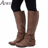 AIWEIYi Knee High Women Boots High Heel Thigh High Boots Women's Round Toe Zipper Sexy Over The Knee Boots Motorcycle Boots