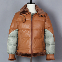 2019 Genuine Leather Jacket Men Fashion Thick Sheepskin Stitching Fur Collar Spliced B3 Air Force Down Jacket Winter Coat cheap Leather Suede REGULAR Full NONE Military Polyester f0035 Turn-down Collar zipper Solid HARLEYDEVIL Brown