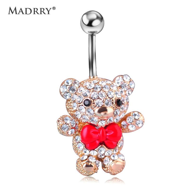 Madrry Red Bow Tie Little Bear Belly Button Rings Body Piercing Jewelry Girls Women 316L Surgical Steel Piercing 14G 1.6mm Bar glow in dark plastic navel belly body piercing bars rings multicolored 7 pcs