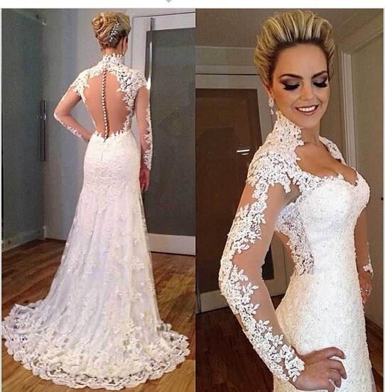 На Заказ Свадебные Платья Китай 2016 Женщины Vestidos Novia Alibaba Интернет-Магазин Сексуальная Длинным Рукавом Weding Платье WD6278