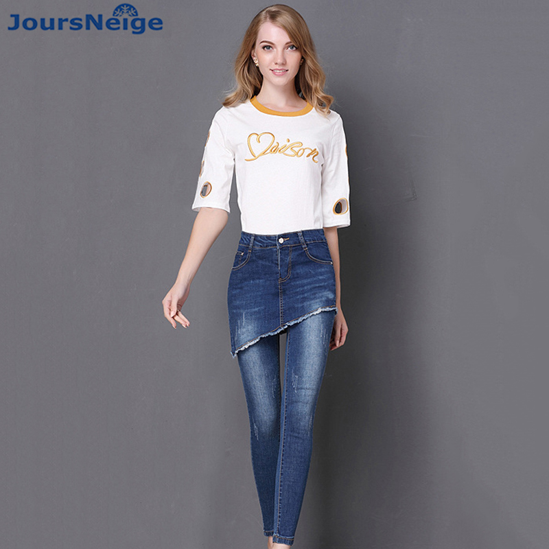 Faux Two Piece Stretch Jeans Women 2017 New Fashion Ripped Denim Jeans for Woman Pencil Pants Femme Trousers Plus Size