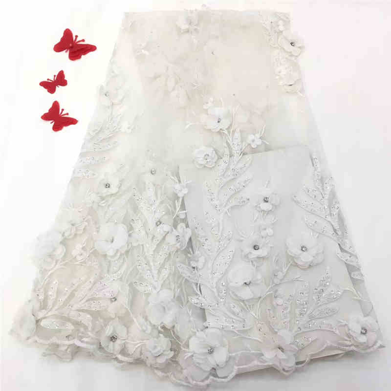2019 New style Free Shipping Superior Quality French Lace Fabric 3D Flowers With Pearls Wedding or Party NX649f 5yards/pieces
