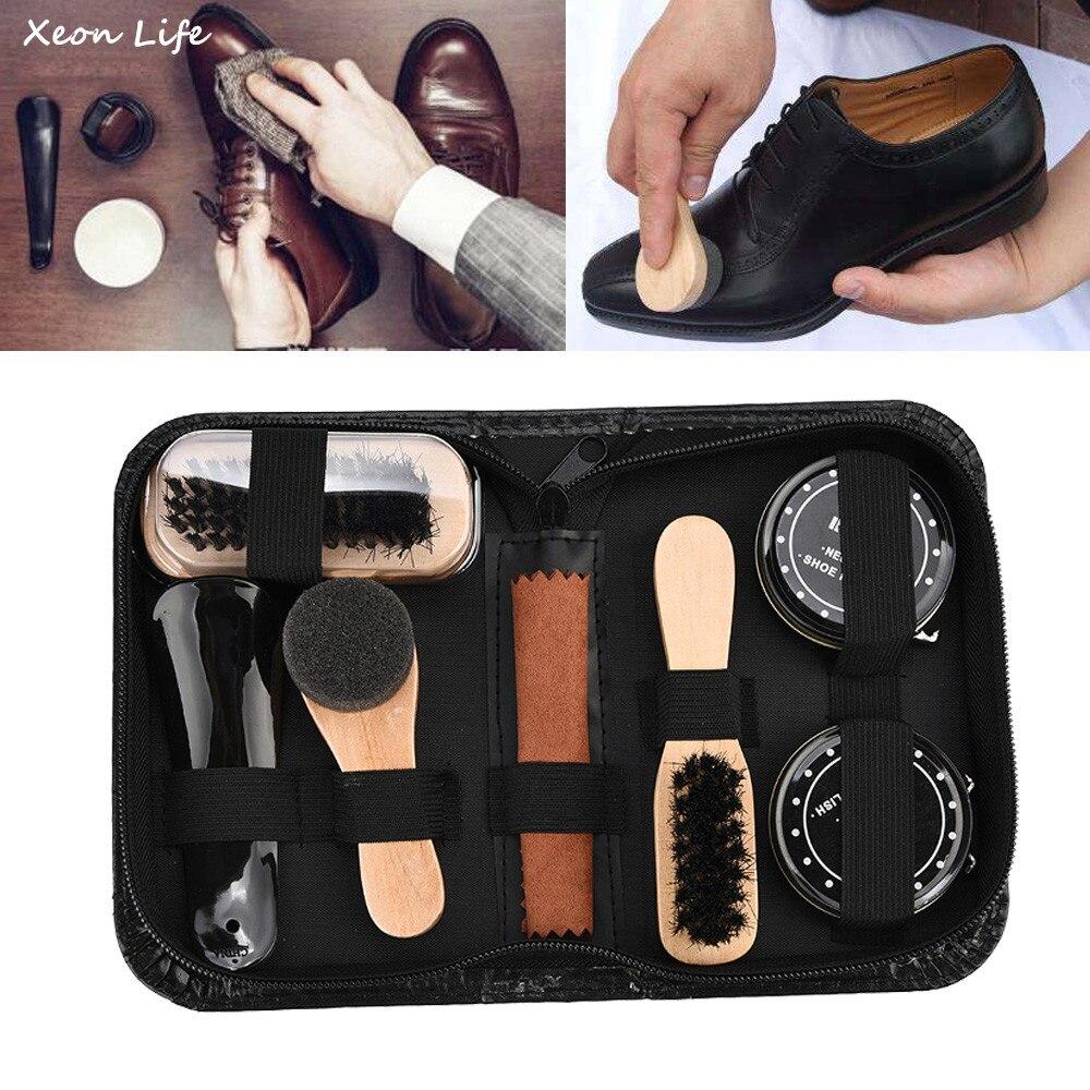 Shoe Shine Care Kit Polish Cleaning Brushes Sponge Cloth Travel Set With Case Portable Case Set Neutral Polishing Tool To Father