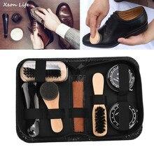 Brillo del zapato Kit de cuidado polaco cepillos de limpieza esponja paño  viajes con caso portátil caso Neutral herramienta de p. ff7cd6d78bd3
