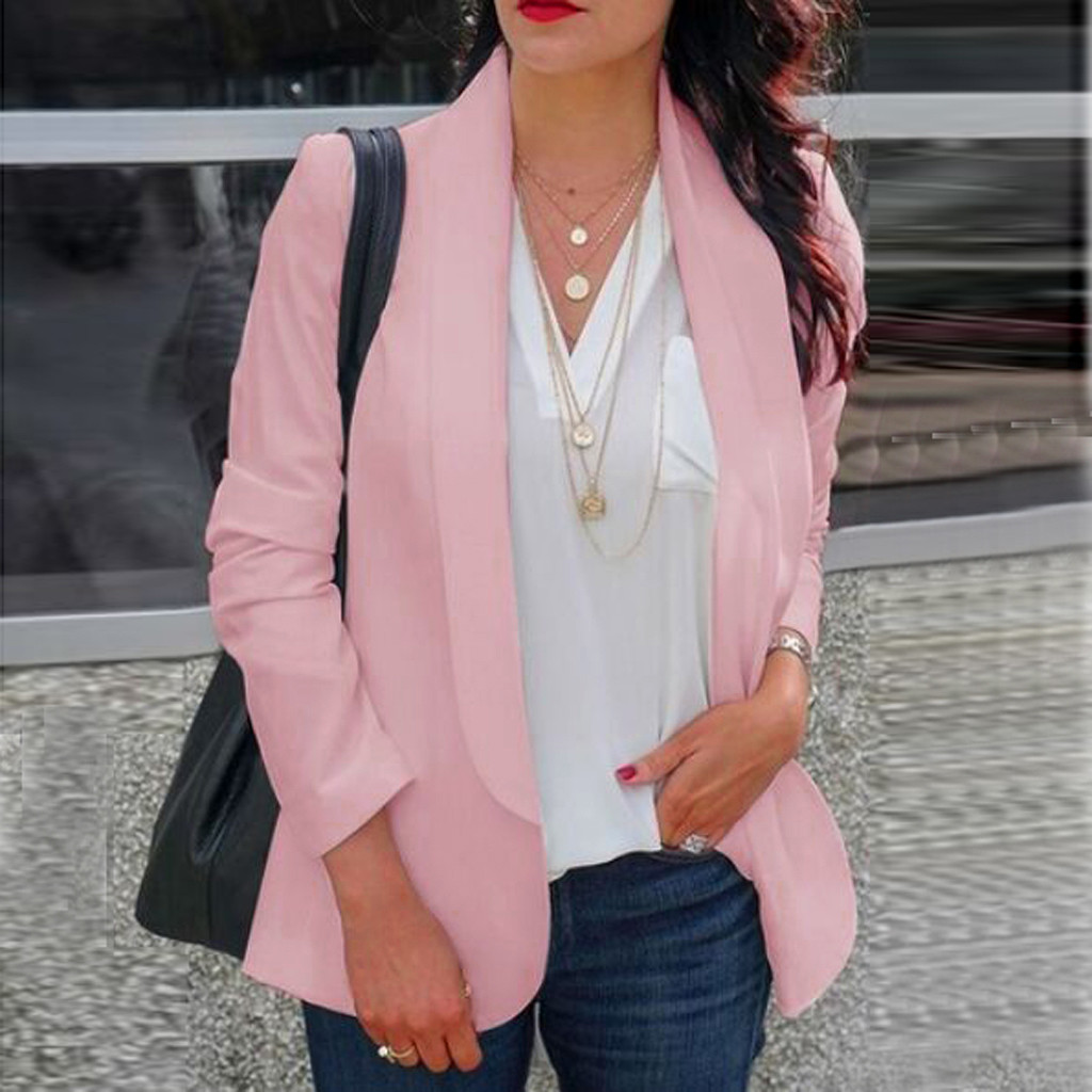 HTB1NoXnaFP7gK0jSZFjq6A5aXXa2 30#Feminino Women White Long Sleeve Open Front Cardigan Suit Jacket Work Office Knit