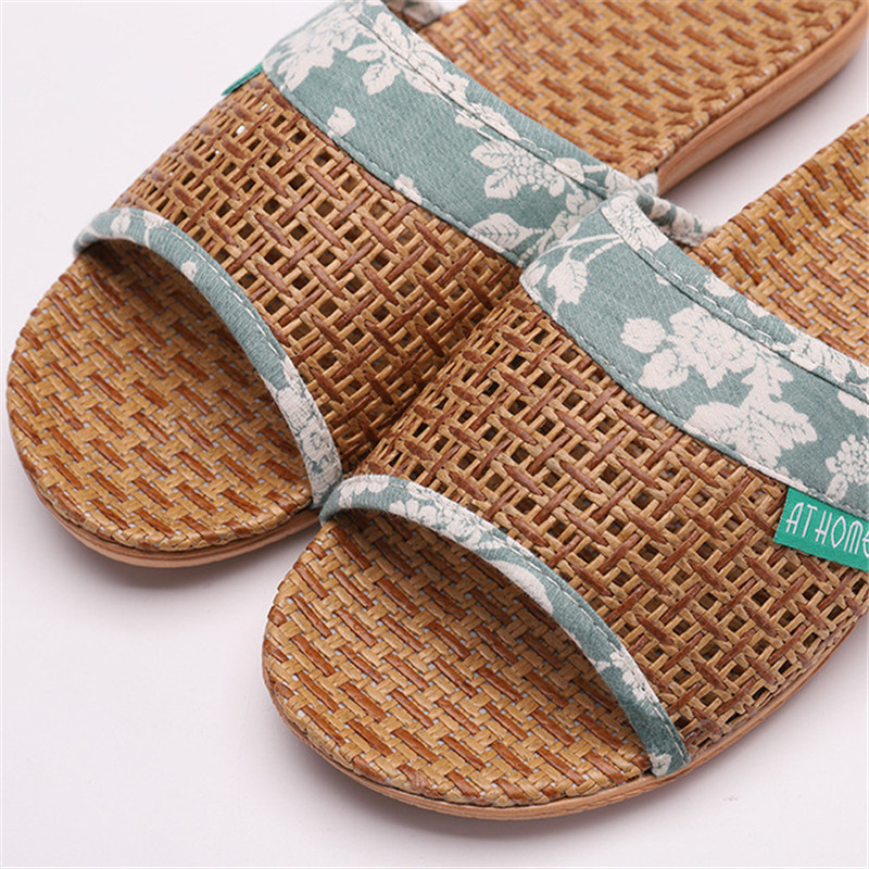 Suihyung Lovers Indoor Slippers 2019 New Summer Women Breathable Flax Slides Flip Flops Woman Man Casual Flat Sandals Plus Size 6