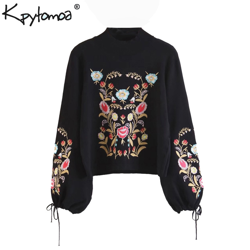 Vintage Chic Floral Embroidery Knitted Sweater Women 2020 Fashion Turtleneck Bow Tie Sleeve Ladies Pullovers Casual Pull Mujer