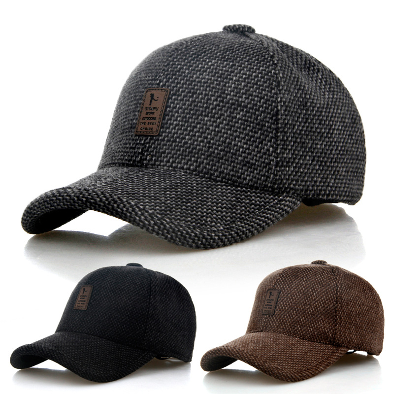 2018 New Men's Winter Baseball Cap Wool Fur Hat Earmuffs Protecting Ear Hats Snapback Casquette hat Sports Outdoors Cap knitted skullies cap the new winter all match thickened wool hat knitted cap children cap mz081