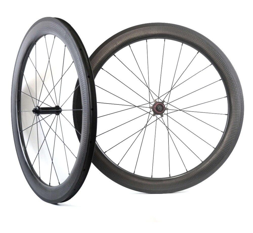 NSW 404 dimple superficie 700C completa in fibra di carbonio wheelset della bicicletta della strada 26mm di larghezza 58mm di profondità ruote UD opaco con chosen7187 hub