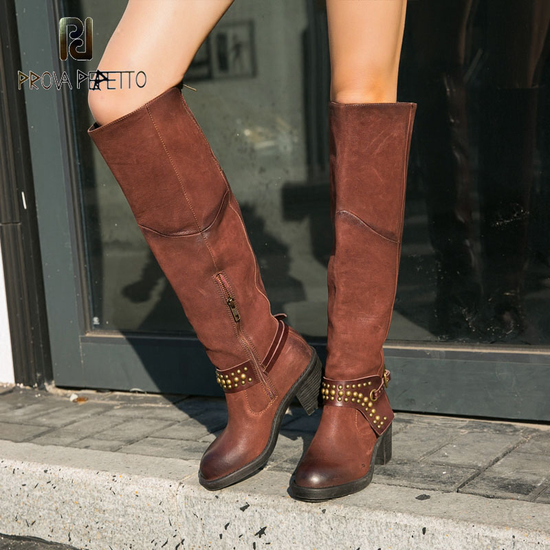 Prova Perfetto Rivets Belt Knee High Boots Slim Girls Exotic Fashionable Bootie Chunky Heel Comfortable Vintage
