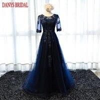 Azul marino Largos Vestidos de Encaje con Mangas Partido Un línea de Baile Las Mujeres Hermosas Formal Elegante vestidos de Noche Vestidos En venta