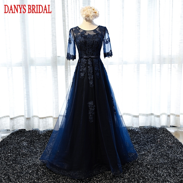 246dc87cd3da Navy Blue Long Lace Evening Dresses with Sleeves Party A Line Beautiful  Women Prom Elegant Formal Evening Gowns Dresses On Sale