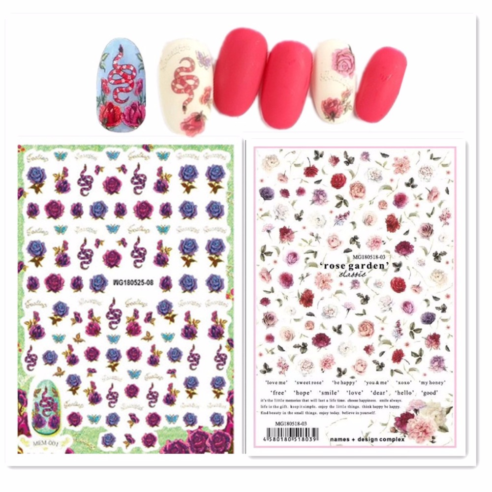 Newest MGM-525 snake and flower design nail sticker art 3d template decals Japan style rhinestones decoration tools