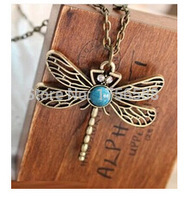 Hot Sale New Fashion Necklace Vintage Gold Hollow Dragonfly Pendants Necklaces Jewelry Wholesale Accessories Free Shipping