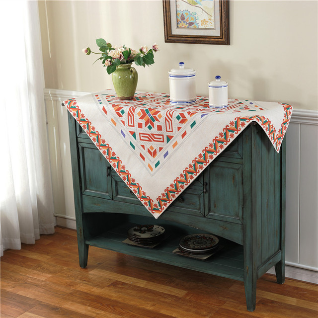 Europe Style Cotton Linen Tablecloth Napkin 4 Styles Printed Flower Hotel Coffee Party Decoration Flocked Table