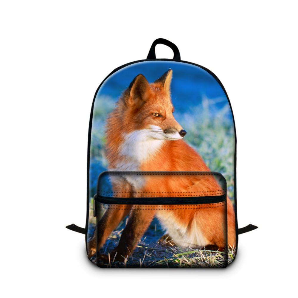 Cute Animal childrens backpacks for 14 inch laptop fox backpacks for back to school high ...