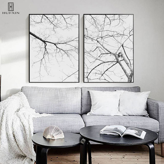 Modern Fall Season Landscape Dead Woods Tree Branches Unframed Wall