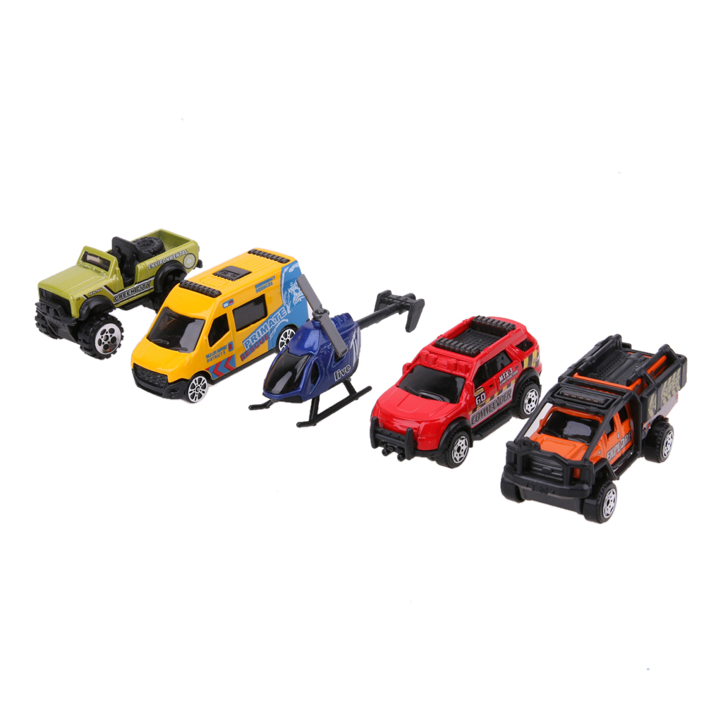 5pcs/set 1:64 Scale Alloy Car Models Kids Children Car Truck Helicopter Toy Gift Set