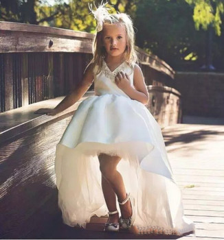 Hot Sale High Low Princess White/Ivory Flower Girl Dresses Satin Beaded Pageant Dresses Gowns for Holy First Communion Dresses