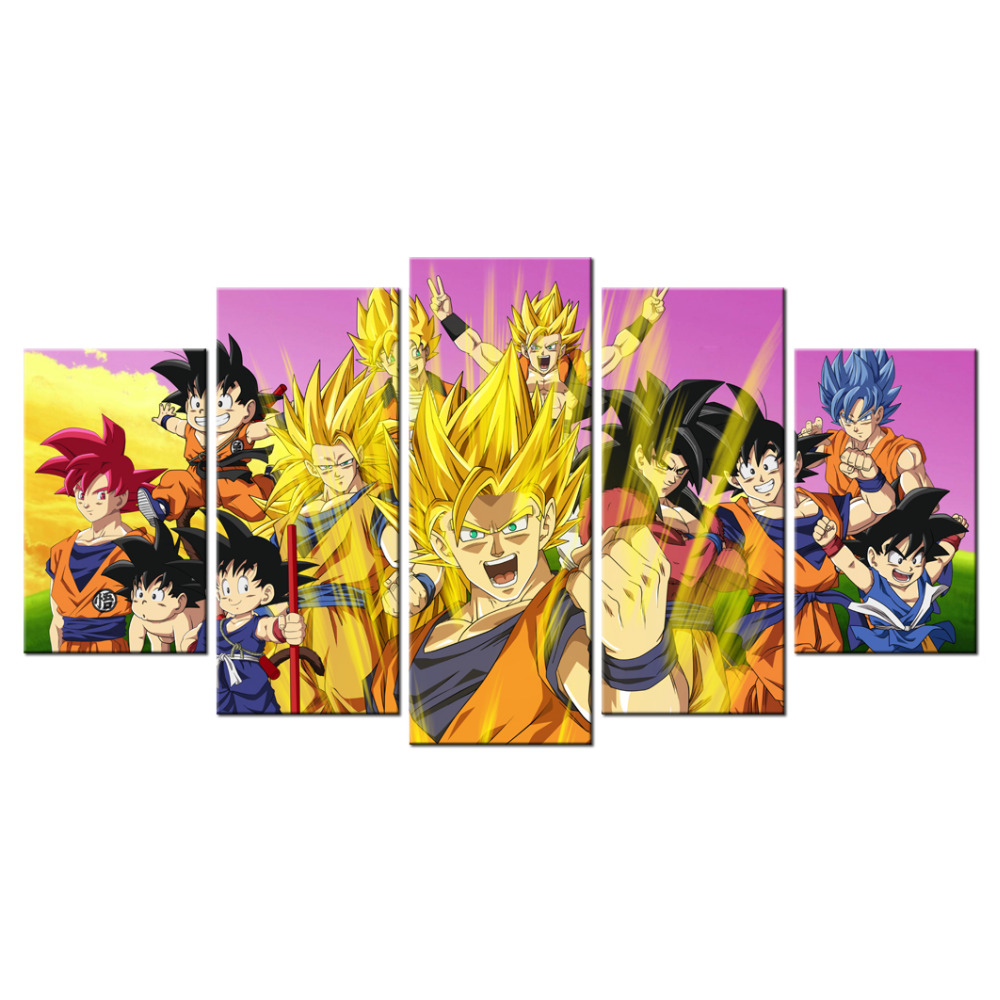 5 piece dragon ball z poster picture canvas wall decor art for Decoration murale dragon ball