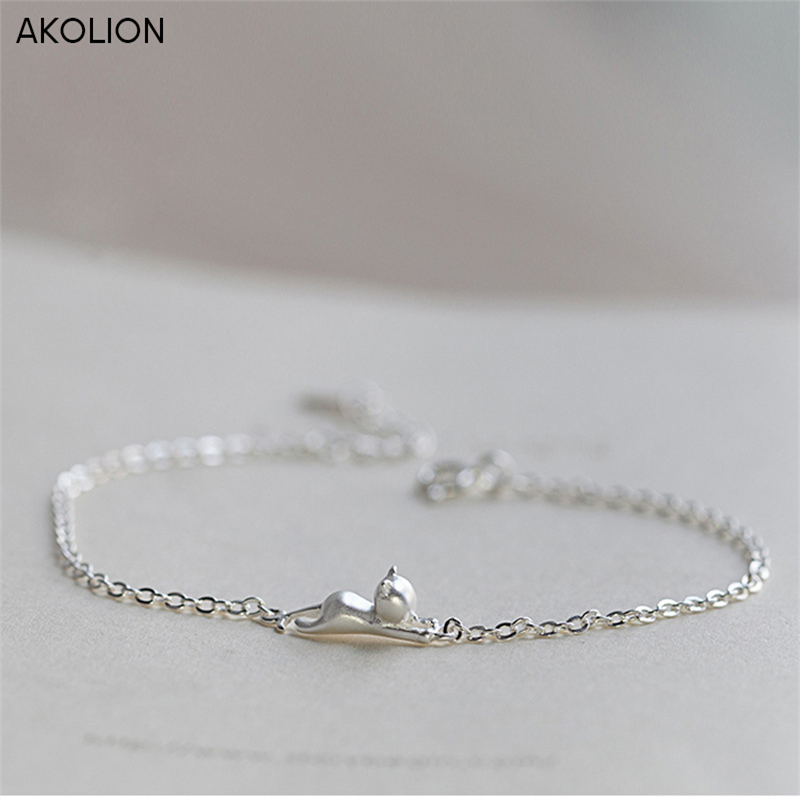 AKOLION Silver Cat Animal Charms Chain Adjustable Bracelet 925 Sterling Jewelry for