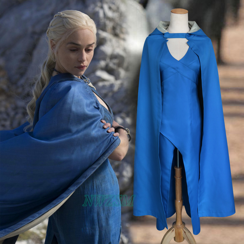 Game of Thrones Targaryen Daenerys Cosplay Costume The Mother of Dragons Costume Blue Dress with Cape Female Halloween Women