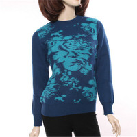 new fashion 100%goat cashmere o neck thick knit women jacquard printed pullover sweater sky blue 2color L 3XL