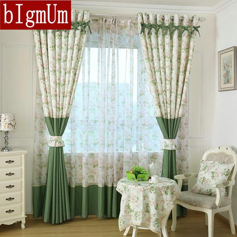 Rústico/pastoral cortina de janela para cozinha cortinas blackout janela cortina/painéis/tratamento decoração para casa floral moderno cortinas