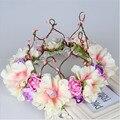2017 Nova Moda Coroa de Noiva Flor de Tecido Meninas Floral Handmade Guirlanda de Aniversário do partido Dos Miúdos Hairbands Acessórios Para o Cabelo Da Mulher
