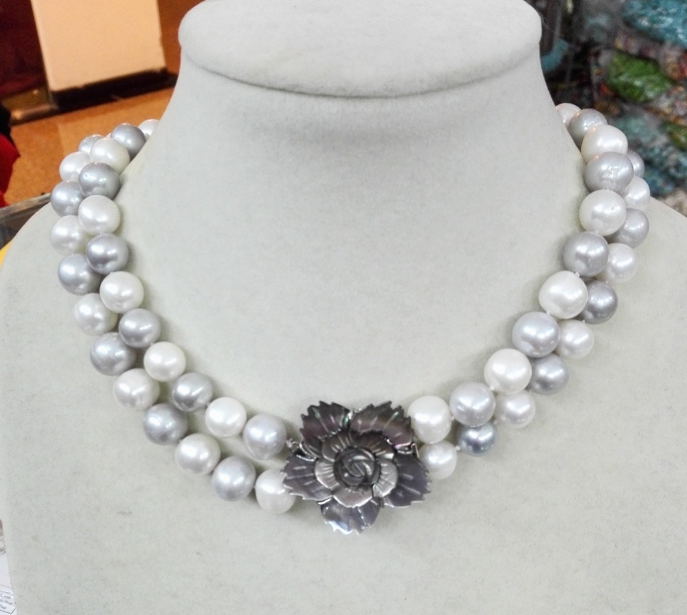 Wedding Women Jewelry Necklace 2 Rows 18inch Bright White Gray Mixed  Natural Freshwater Pearl Necklace Pretty