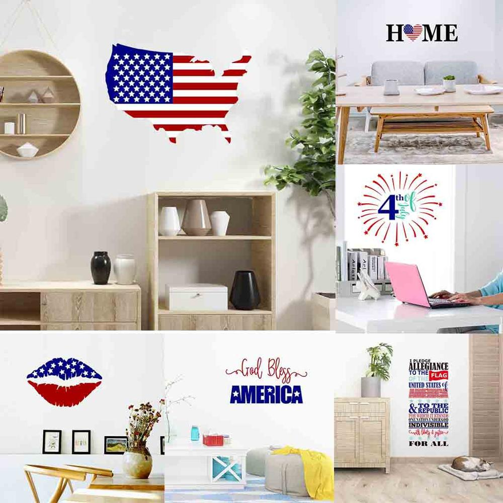 Independence Day <font><b>July</b></font> <font><b>4</b></font> Vinyl DIY Wall Sticker United States map thanksgiving lip Decals Home <font><b>Decor</b></font> Bedroom living room image