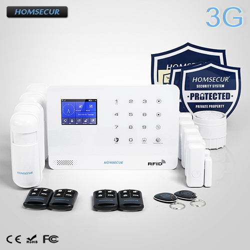 HOMSECUR Wireless LCD 3G SMS Autodial Home Security Alarm System with Smoke Sensor