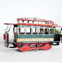 Free Shipping Zakka Retro Handmade Metal Crafts Vintage Electric Train Model Home Pub Decoration Creative Gift
