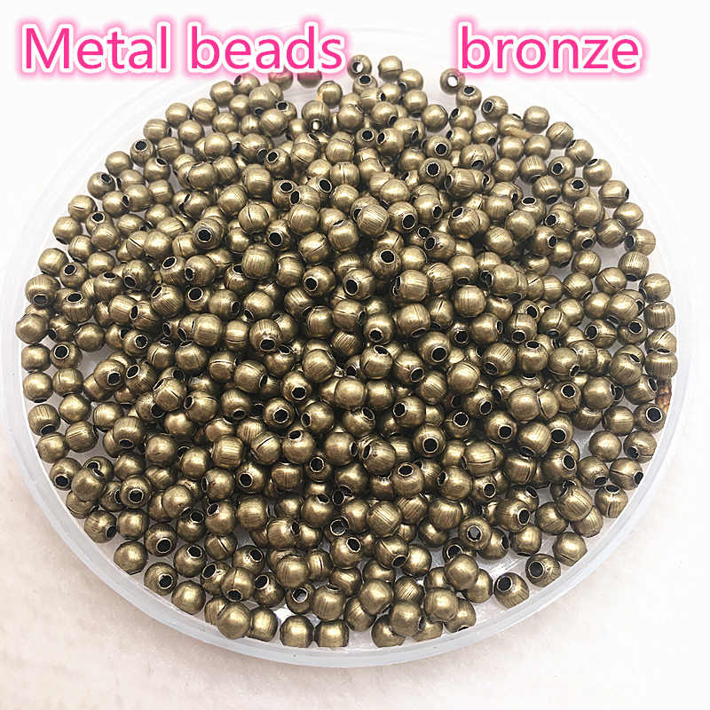 Resultados Da jóia Diy 3mm 4mm Ouro/Prata/Bronze/Silver Tone Metal Contas Bola Espaçador Suaves contas Para Fazer Jóias