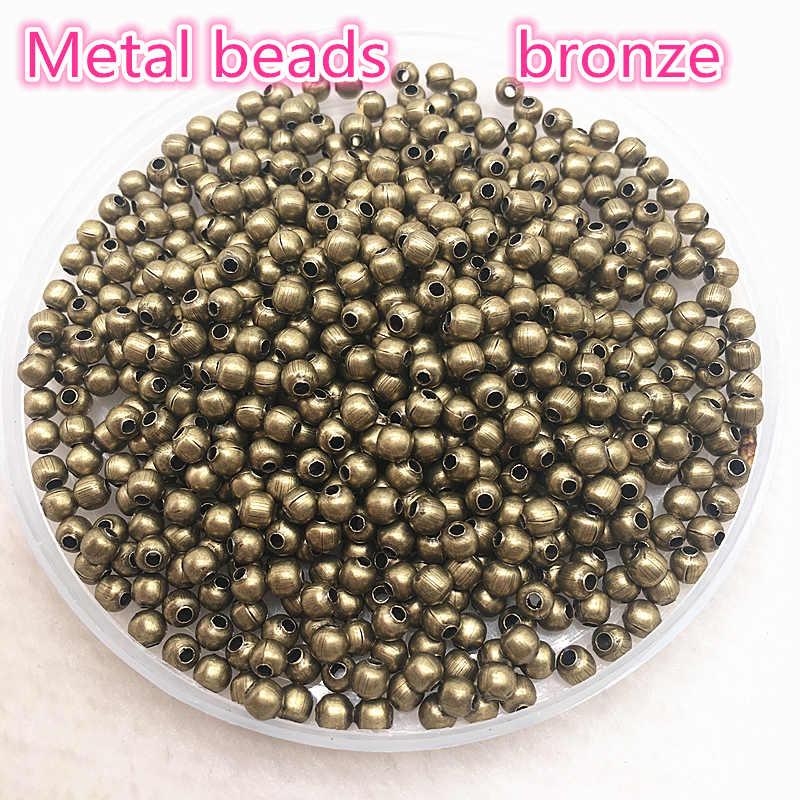 Risultati Dei monili di Diy 3 millimetri 4 millimetri In Oro/Argento/Bronzo/Argento Borda il Tono di Metallo Liscia della Sfera del Distanziatore perline Per Monili Che Fanno